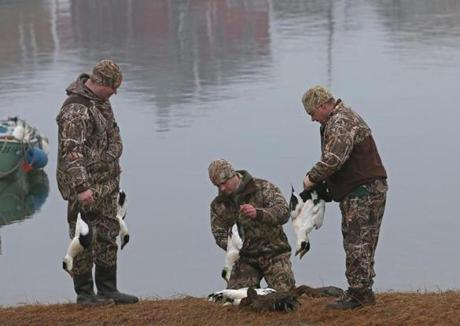 Jim Wolfe (from left), Greg Pollauf, and Scott Bettinger looked over the ducks they had hunted.